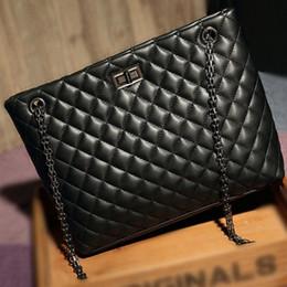 Pu Leather Tote Bag Satchel NZ - Black Plaid Quilted Leather Tote Diamond Lattice Satchel Handbag Purse Fashion Women Chain Strap Ladies Shoulder Messenger Bag