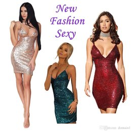 Barato Vestidos Europeus Sexy-2017 Fashion Sexy Summer Harness Perspectiva V-neck Sexy Sling Sequins Dress Women European American Style Pencil Dress