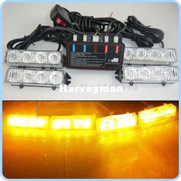 $enCountryForm.capitalKeyWord Canada - 4x4 Led Car Emergency Flashing Warning Strobe Recovery Grill Light Lamp 8 Modes Beacon Amber 4*4 16 LED