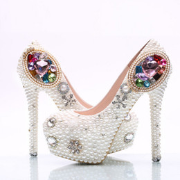 Satin Shoes Pearls UK - New white pearl shoes colorful gems The stiletto heel shoes