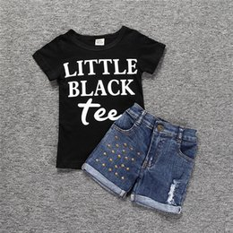 $enCountryForm.capitalKeyWord Australia - baby girl summer fashion set cotton short sleeves letter t-shirt+jeans shorts clothing suit for kids babe girls clothes cheap wholesale