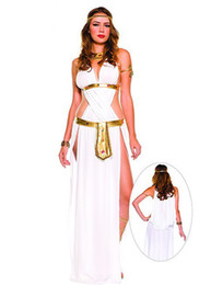 Robe De Cosplay D'egypte Pas Cher-Classic Greek Mythology Cosplay Dress Femme Egypte Queen Dress Sexy White Long Dress Déguisement Halloween Party Costume