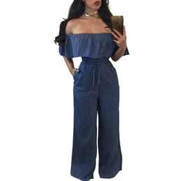 Mameluco Largo Denim Baratos-Casual Slash Neck largo suelto mujeres Denim Jumpsuit fuera de los cinturones de hombro Top largo pantalones damas mameluco general