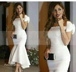 Tea Party Dresses White Canada - 2017 Elegant White Mermaid Evening Dress Tea Length Formal Holiday Wear Party Gown Custom Made Plus Size