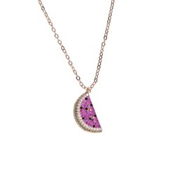 $enCountryForm.capitalKeyWord UK - 2017 cheap wholesale rose gold plated watermelon cherry pendant pave red cz delicous fruit pendant necklace