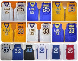2db02477fe0 Cheap LSU Tigers College Basketball Jerseys 25 Ben Simmons 33 Shaquille  ONeal Shaq ...