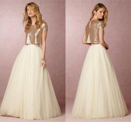 Castle Bling Wedding Dress Canada - Bling Bling Gold Wedding Dresses Two Pieces 2017 Newest Design Short Sleeve A-Line Floor Length Tulle Bridal Gowns Vestido De Noiva W900