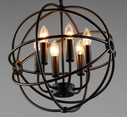 Discount hardware chandelier - 6 8 12 Vintage Pendant Light American Country Style birdcage Bar Hardware chandeliers Classic Beauty Iron candle light H