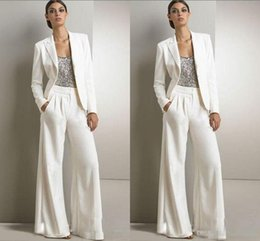 plus size purple special occasion dresses 2018 - 2016 Bling Sequins Ivory White Pants Suits Mother Of The Bride Dresses Formal Chiffon Tuxedos Women Evening Special Occa
