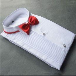 Top-Qualität weiße Baumwolle Langarm Bräutigam Shirt Männer kleine spitze Kragen Falten formale Anlässe Kleid Shirts