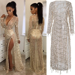 Barato Vestidos De Bikini Profundo V-Sequined Tassel 2017 wind see-through lace Slit Sexy blusa, Deep V Paillette Vestidos de festa Bikini Cover Up Swimwear Summer Beach Dress
