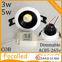 downlights sale NZ - Hot Sales 3w 5w COB downlights White Round Shell Led Recessed Mini Down Lights dimmable AC85-265V Warm Nature Cold White CE UL SAA