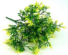Green Plastic Grass Plant Canada - Plastic flower simulation green plant wall bouquet, New 7 fork simulation rock cypress grass