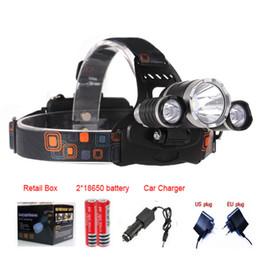 3T6 Scheinwerfer 8000 Lumen 3 x Cree XM-L T6 Kopf Lampe High Power LED Scheinwerfer Kopf Taschenlampe Lampe Taschenlampe Kopf + Ladegerät + Kfz-Ladegerät