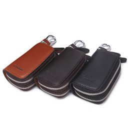 Wholesale Classic New Double Zip Men s Genuine Cow Leather Car Key Holder Multifunction Housekeeper High Class Motor Key Case