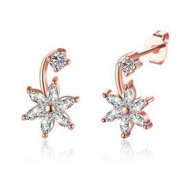 New Earring Models NZ - New Model Cute Girls Six Flaps Flower Star Shape Shinny Zircon Stud Earring For Gift Free Shipping