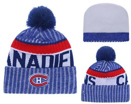 Barato Boné De Beisebol-New Beanies Team Canadiens 2017 Hot Knit Hockey Beanie Pom Pom Knit Hats Baseball Football Basketball Beanies Blue Mix Match Encomendar Todos Caps