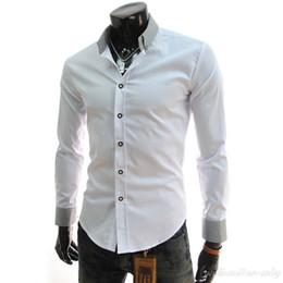 95c403ac9d Venta al por mayor- Camisa social Masculina de los hombres Camisa de manga  larga blanca y negra de gran tamaño Slim Fit Negocio Ajuste masculino botón  ...