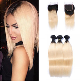$enCountryForm.capitalKeyWord Australia - Brazilian Ombre Color 1B 613 Straight Human Hair Two Tone Hair With Lace Closure With Baby Hair 4*4 Top Closure Bleached Knots