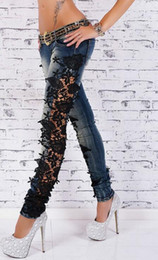 Silk Hole Canada - Brand new Large size lace jeans street fashion Slim pants trousers JW009 Women's Jeans