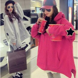 Bat Clothing Canada - Women's Jacquard Bat sleeve coat pregnancy clothes winter pregnant women's coat There are five-pointed star pattern