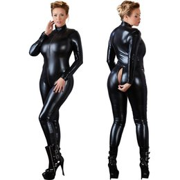 Costumes Pour Femme Pas Cher-Femmes Sexy Black Open Crotch Zentai Catsuit Jumpsuit Faux Leather Leggings Pantalons Club Zipper Long Sleeve