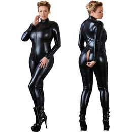 Barato Catsuit Preto Com Zíper-Mulheres Sexy Black Open Crotch Zentai Catsuit Jumpsuit Faux Leather Leggings Pants Club Zipper Manga comprida