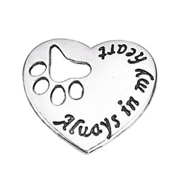 Wholesale Fashion Jewelry Dog Paws Canada - DIY Fashion Jewelry Antique Silver Plated Heart ShapePet Dog Puppy Paw Print Metal Footprint Animal Always in My Heart Charms