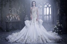 8767954128 New Style 2017 Elegant Mermaid Wedding Dresses With Crystal Lace Ruched  Sparkle Rhinstone Bridal Gowns Dubai Vestidos De Novia Custom Made