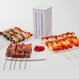 Flat Grill Pan Canada - 1 pc Brochette Express 32 Bamboo Skewers Food Slicer BBQ Grill Shish Kebab Maker Meat Fruit Vegetables Slicer wn217