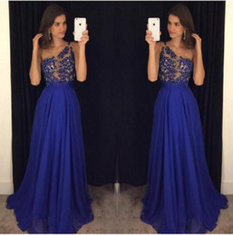 $enCountryForm.capitalKeyWord Canada - 2017 Royal Blue Prom Dresses One Shoulder Chiffon Illusion Long Custom Made Special Occasion Party Gowns For Girls Robe De Soiree