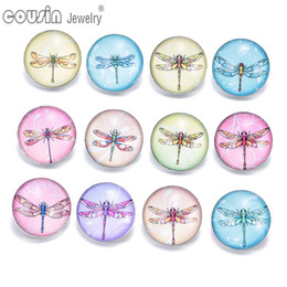 18mm bezel Canada - 12pcs lot Mixed styles 18mm snap button Jewelry dragonfly glass Snap Fit snap Bracelet Jewelry KZ0315
