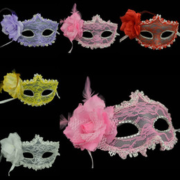Discount feather dresses for girls - Halloween party dress party party queen feather lace mask Venetian princess eye mask mask girl