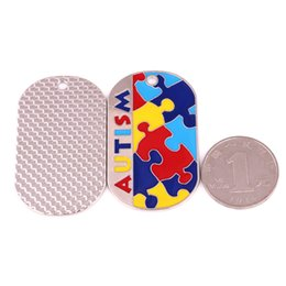 $enCountryForm.capitalKeyWord Canada - Autism Awareness Identification Pendant Military Dog Tag Style Puzzle Piece Pattern With Enamel Colors Jewelry Dropshipping