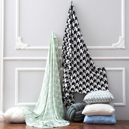 Free Shipping Gift Nordic Cotton Bedspread Knitted Geometric Triangles  Trapezoid Pattern Throw Blanket Wrap Rug,120cm*160cm
