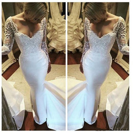 Barato Vestido De Sereia Vestido Com Sapatos De Cetim-2017 New African Mermaid Wedding Dresses Sweetheart Sheer Manga comprida Lace Appliques Crystal Beaded Sweep Train Satin Formal Bridal Gowns