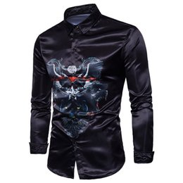 Barato Pontos Leopardo Camisas-New Fashion Men's Leopard Digital Camisa de mangas compridas Personality Cotton Bleng Men's Casual Shirts Stitching Ordinary Men's Clothing