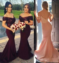Lavender Blush Wedding Dress Australia - 2018 Burgundy Off the Shoulder Mermaid Long Bridesmaid Dresses Sparkling Sequined Top Wedding Guest Dresses Blush Pink Maid of Honor Gowns