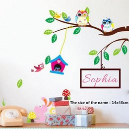 Discount tree branch vinyl wall art - Personalized Girls Name Cartoon Owls Tree Branch Wall Sticker DIY Wall Art Decor Decals