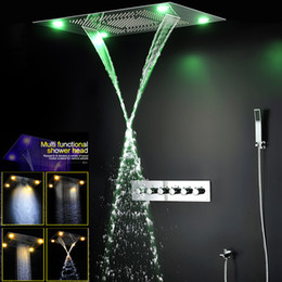 chrome thermostatic rain shower set Australia - Ceiling Big Rain Shower Head Waterfall , Mist Shower Set Bathroom Shower Faucets High Flow Thermostatic 5 Way Diverter Bath