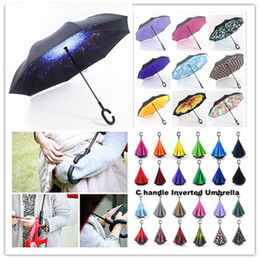 Discount cloud cars - Galaxy C Handle Inverted Umbrellas Blue Clouds Windproof Inside Out Umbrella Double Layer Reverse Umbrella Sunny Phone U