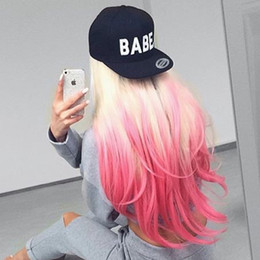 custom blonde hair Canada - Custom Blonde ombre pink red color Full lace wig Synthetic Hair Full lace wigs