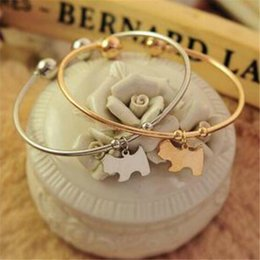 Silver bracelet blankS cuff online shopping - Charm Bracelets Women Fashion Jewelry for Girls Cuff Bracelet Charming Cute Pendant Gold Silver Alloy Dog Blank Bangles Christmas Gift