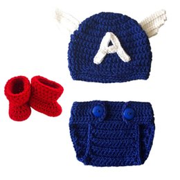 crochet hats spring summer UK - Captain America Baby Costume,Handmade Crochet Captain America Hat Diaper Cover Booties Set,Infant Toddler Halloween Costume Photo Props