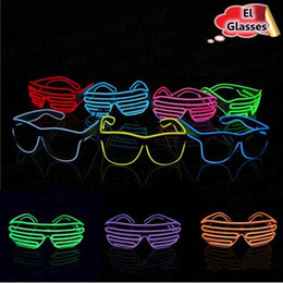 $enCountryForm.capitalKeyWord NZ - Simple El Glasses El Wire Fashion Neon LED Light Up Shutter Shaped Glow Sun Glasses Rave Costume Party DJ Bright Sunglasses CCA6535 300pcs