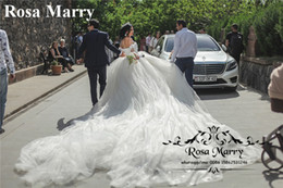 Images Floral Wedding Dresses NZ - Princess Cathedral Train Ball Gown Wedding Dresses 2020 Off Shoulder 3D-Floral Flowers Beaded Arabic Russian Bridal Gowns Vestido De Novia