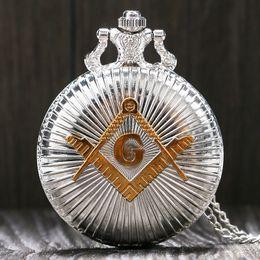 Al por mayor-moda de oro de plata Masonic Free-Mason Freemasonry tema reloj de bolsillo con cadena de collar mejor regalo para hombres mujeres en venta