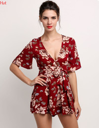 Barato V Sexy Beach Girl-Red Floral Print Ruffles Playsuits Mulheres Elegant Autumn V Neck Jumpsuits Rompers Sexy Beach Girls Summers Macacões curtos Macacos SV030118