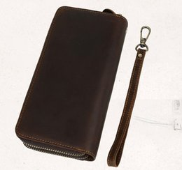 Wholesale Men leather cluth wallets Imported first layer crazy horse leather Long length wallets double zipper Retro fashion wallets cost prices sale