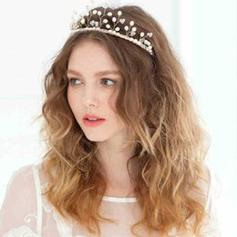 Barato Coroas De Pérola À Venda-2017 Hot Sale Wedding Headdress Pérolas Beads Cute Little Branches Bride Crown Acessórios de cabelo nupcial Headpieces Bridal Pearls Tree Crowns